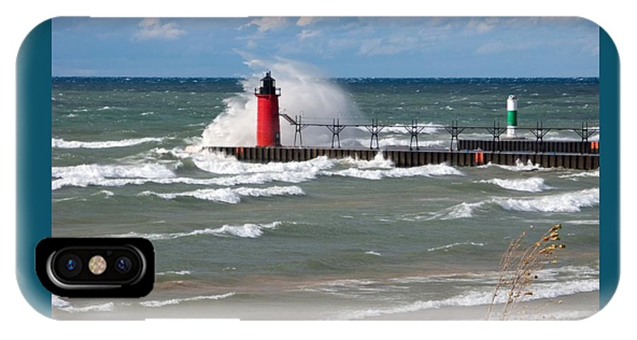 Lighthouse IPhone X / XS Case featuring the photograph South Haven Splash by Ann Horn