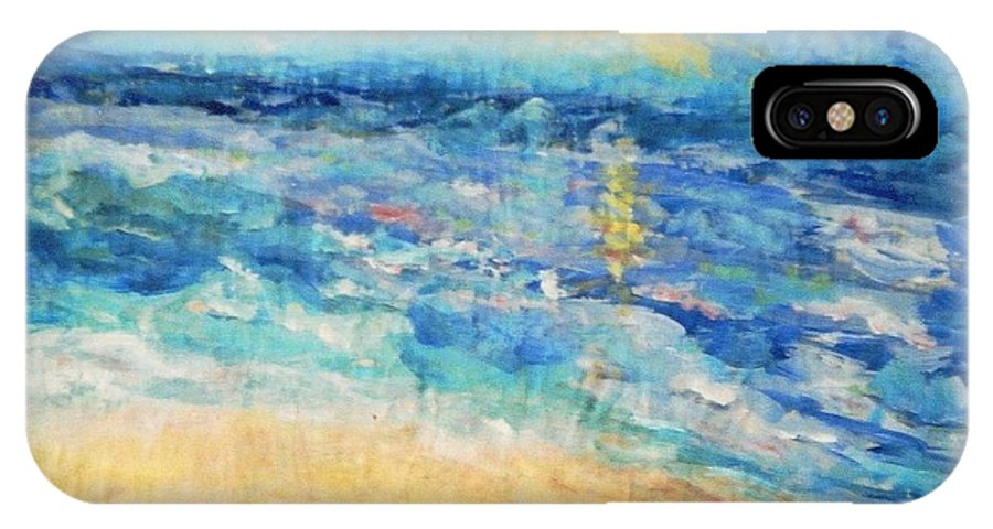 Seascape IPhone X Case featuring the painting South Of France by Fereshteh Stoecklein