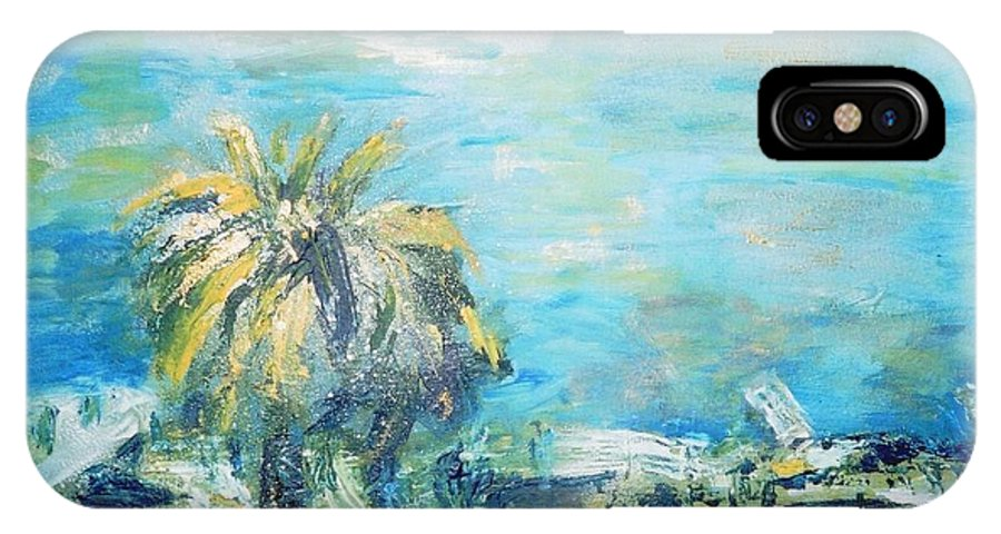 Seascape IPhone X Case featuring the painting South Of France  Juan Les Pins by Fereshteh Stoecklein