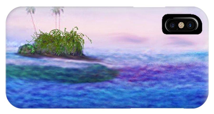 Morning Sea Sky Island Wave Calm IPhone X Case featuring the digital art South Sea. Morning calm by Dr Loifer Vladimir