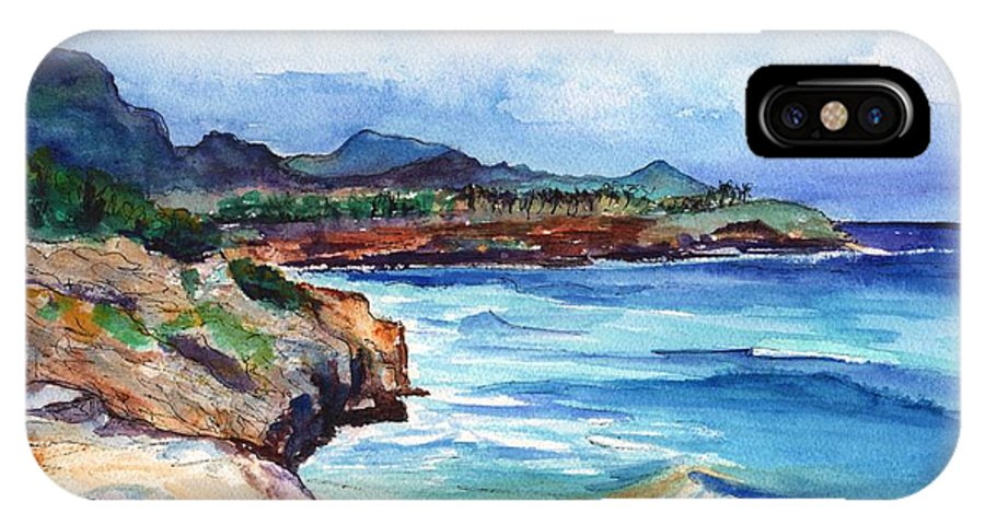 Kauai South Shore IPhone X Case featuring the painting South Shore Hike by Marionette Taboniar