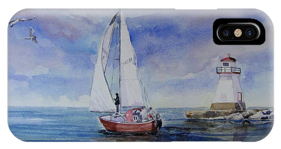 Sailing IPhone X Case featuring the painting Southampton Wind by Bev Morgan