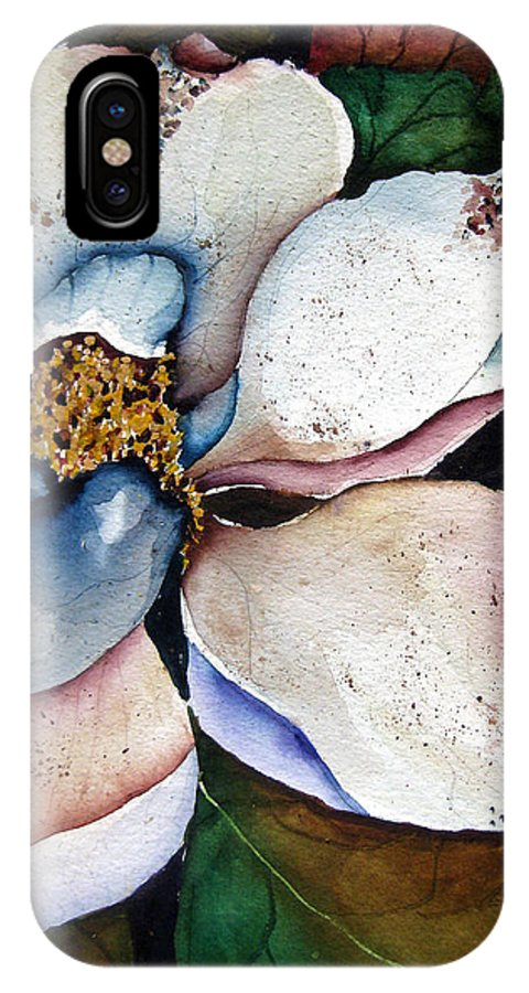 Magnolias IPhone X Case featuring the painting White Glory by Lil Taylor