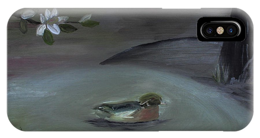 Lonely Abstract Mallard IPhone X Case featuring the painting Southern Night by Kerri Mahan