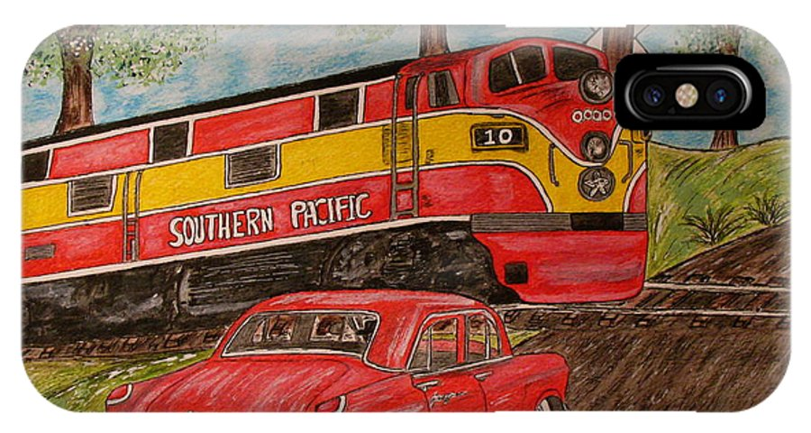 Southern Pacific Railroad IPhone X Case featuring the painting Southern Pacific Train 1951 Kaiser Frazer Car Rr Crossing by Kathy Marrs Chandler