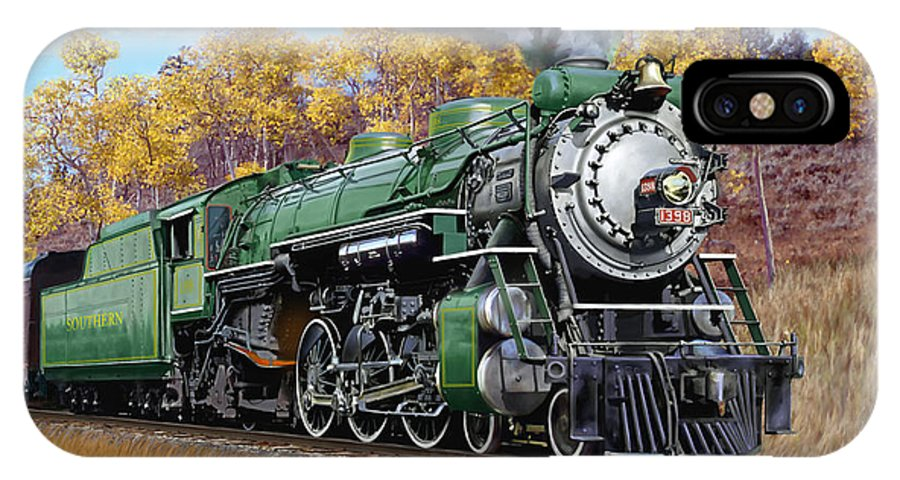 Railraod IPhone X Case featuring the painting Southern Railway Class Ps-4 Pacific by Mark Karvon