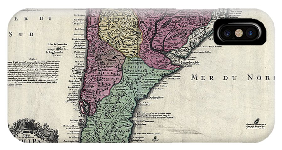 America Map With Compass.Southern South America Map 1733 Iphone X Case For Sale By Compass