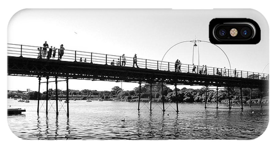 Black And White Photography IPhone X Case featuring the photograph Southport Pier Across The Marine Lake Bw by Joan-Violet Stretch