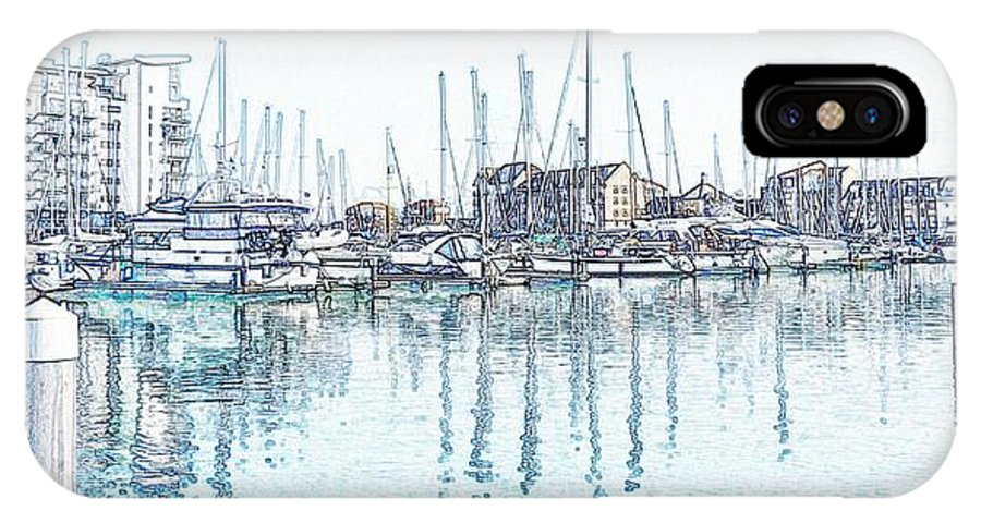 Sovereign Harbor IPhone X Case featuring the photograph Soveriegn Harbor In Pencil by Sharon Lisa Clarke