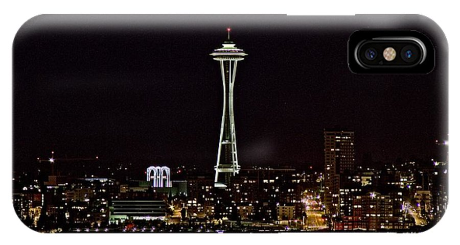 Seattle Skyline IPhone X Case featuring the photograph Space Needle At Night by Marv Russell