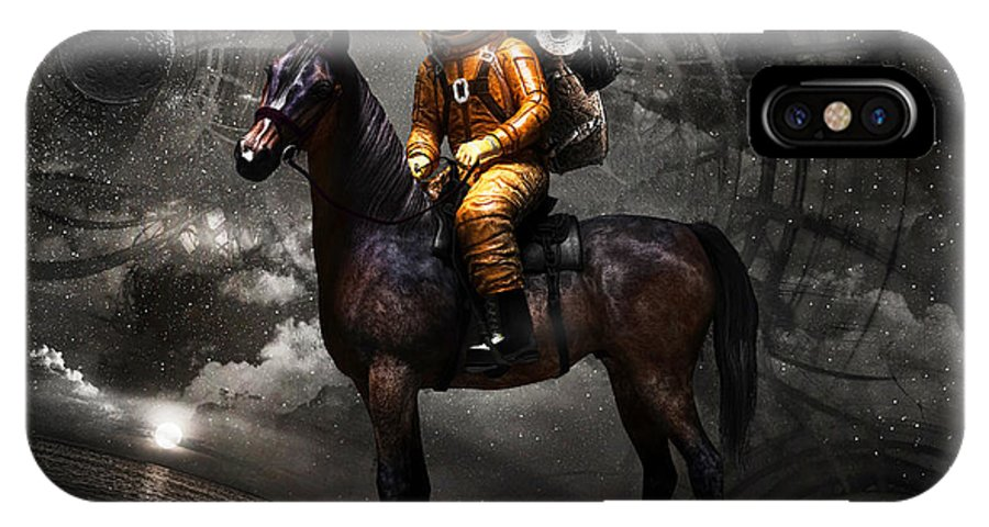 Space IPhone X Case featuring the digital art Space Tourist by Vitaliy Gladkiy