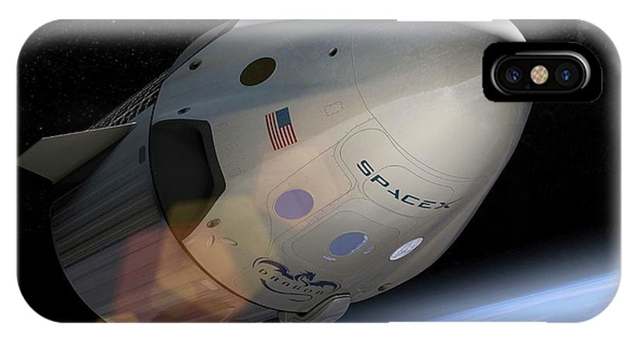 Crew Dragon IPhone X Case featuring the photograph Spacex's Crew Dragon In Orbit by Spacex/science Photo Library