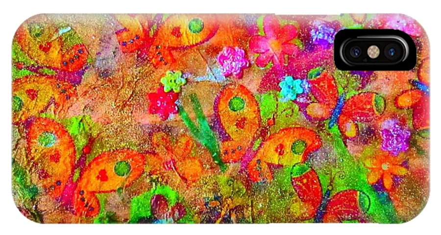 Collage IPhone X Case featuring the mixed media Sparking Butterflies Flowers by Martha Nelson
