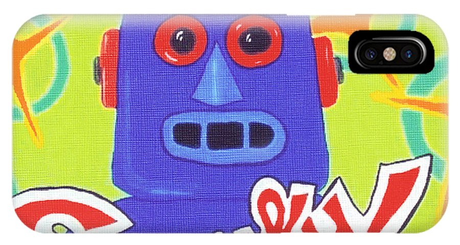 Retro IPhone Case featuring the painting Sparky The Toy Robot by Lynnda Rakos