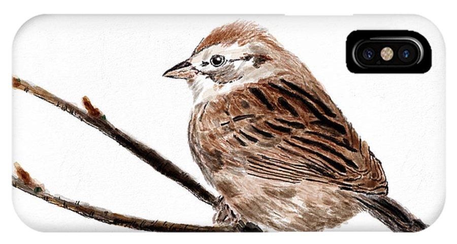 Bird IPhone X Case featuring the digital art Sparrow by Parappurathu Mathews