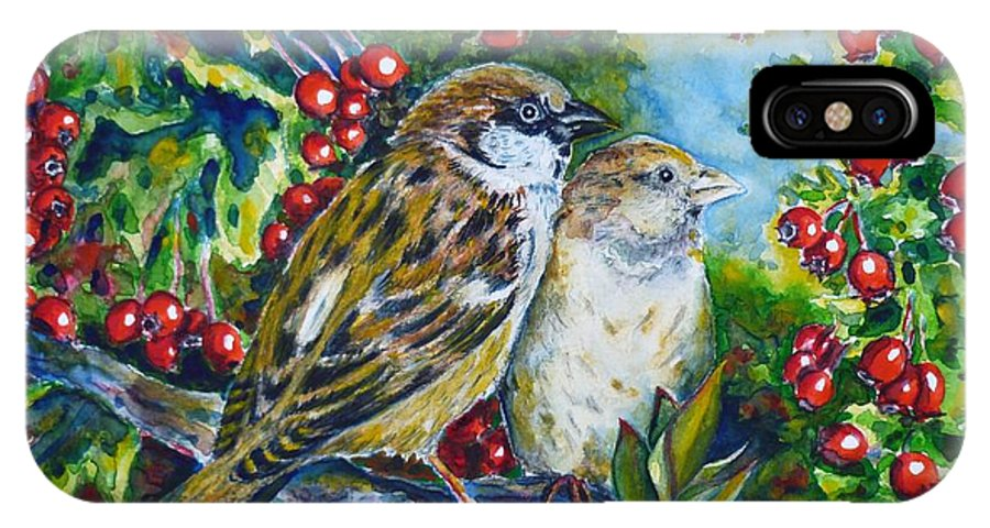 Sparrows IPhone X Case featuring the painting Sparrows On The Hawthorn by Zaira Dzhaubaeva