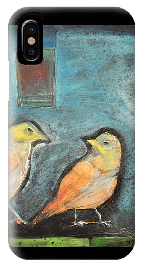 Birds IPhone X Case featuring the painting Sparrows by Tim Nyberg
