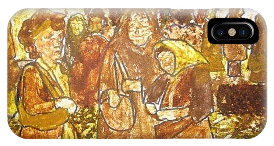 Spice IPhone X Case featuring the mixed media Spice Sellers Of Yugoslavia by Suzy Kangas