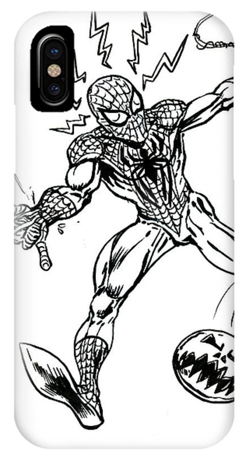 Spider-man IPhone X Case featuring the drawing Spidey Dodges A Pumpkin Bomb by John Ashton Golden