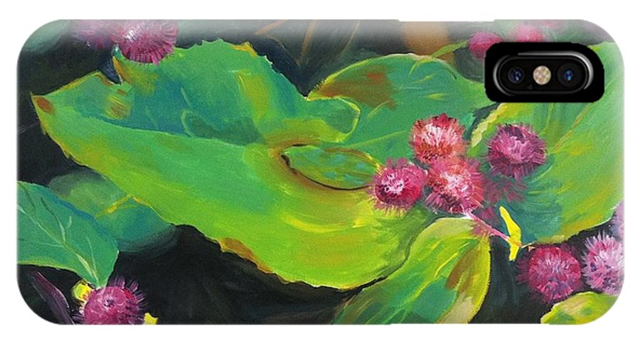 Flowers IPhone X Case featuring the painting Spiked Flowers by Judy Swerlick