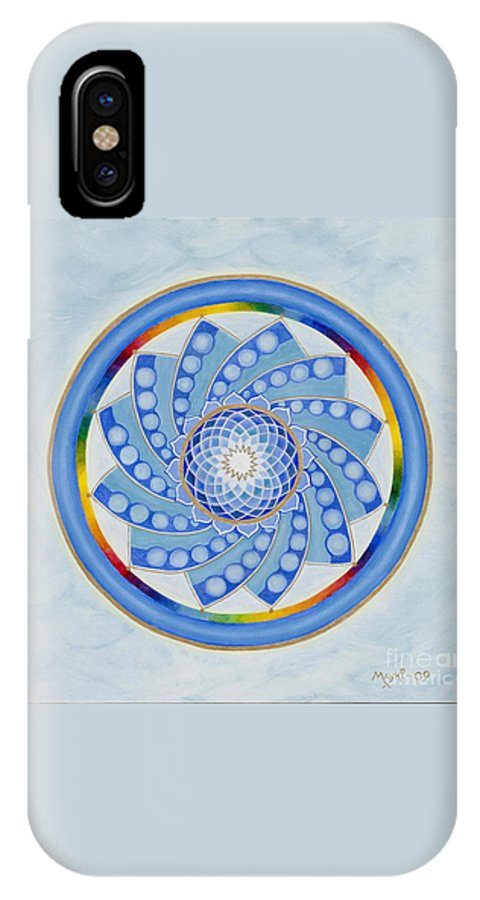 Mandala IPhone X Case featuring the painting Spinning Flower by Mayki Wiberg