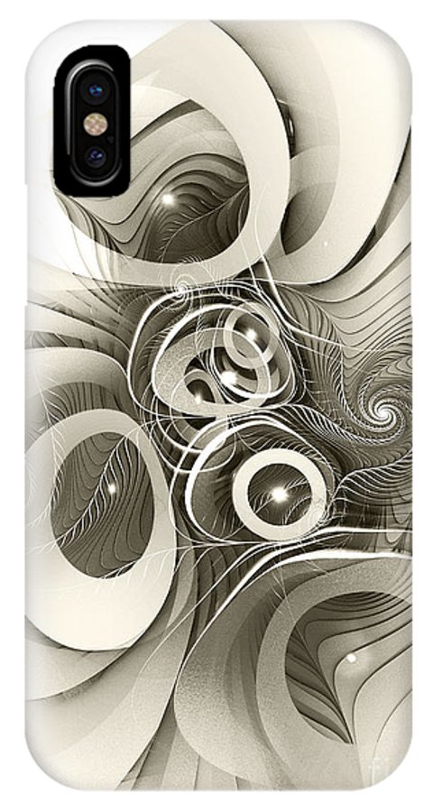 Spiral IPhone X Case featuring the digital art Spiral Mania 2 - Black And White by Klara Acel