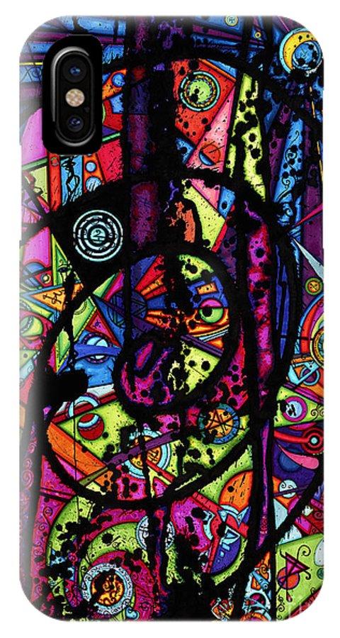 Joey Gonzalez Art IPhone X Case featuring the drawing Spiral Night by Joey Gonzalez