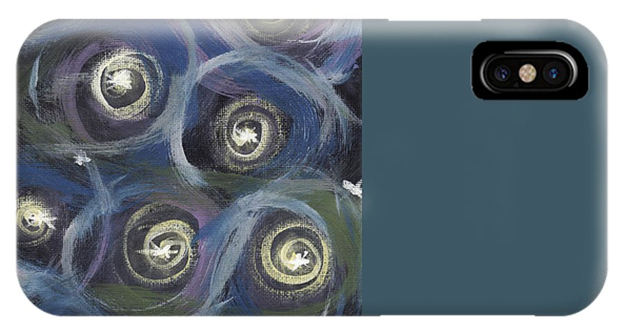 Stars IPhone X Case featuring the painting Spiral Stars by Ashley King