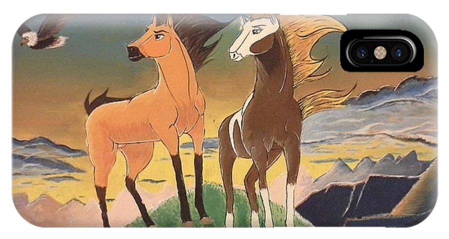 Horse IPhone X / XS Case featuring the painting Spirit by Altagracia Enriquez