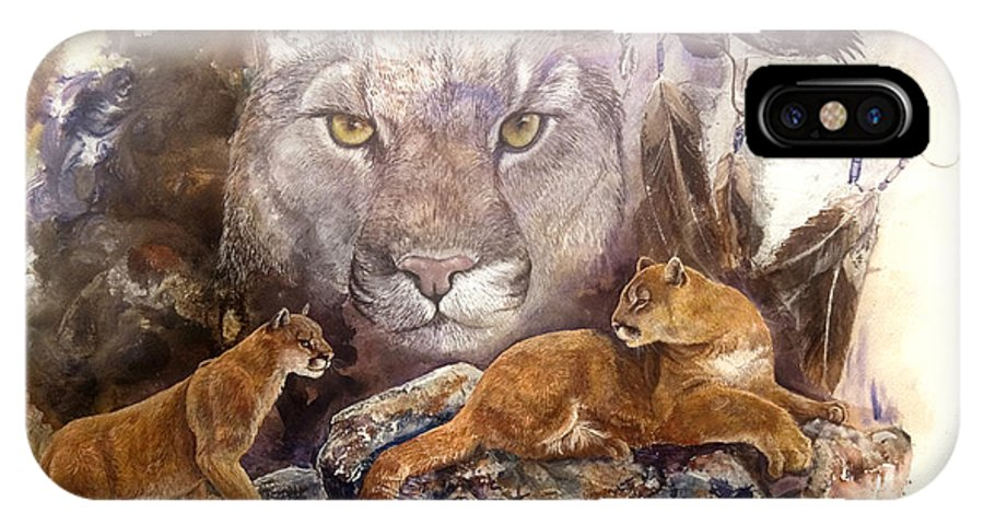 Cougar IPhone X Case featuring the painting Spirit Cat by Sherry Shipley