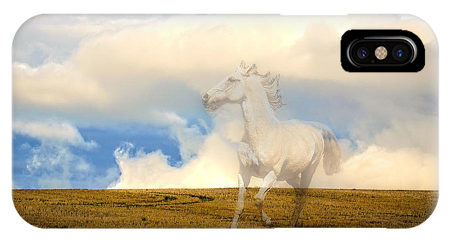 White Horses IPhone X Case featuring the photograph Spirit Horse by Steve McKinzie