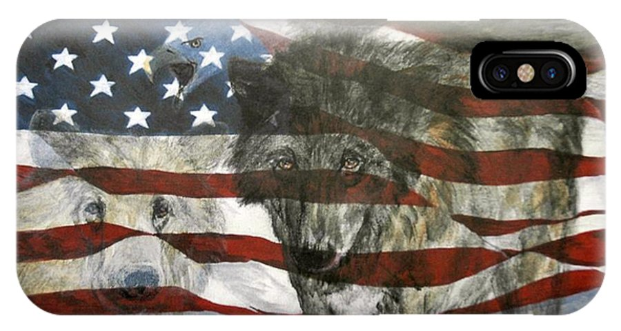 Flag IPhone X Case featuring the painting Spirit Of America by Pat Morris