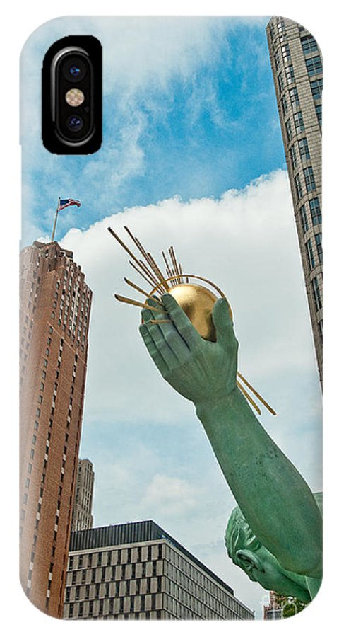 Detroit IPhone X Case featuring the photograph Spirit Of Detroit's Left Hand by Steven Dunn