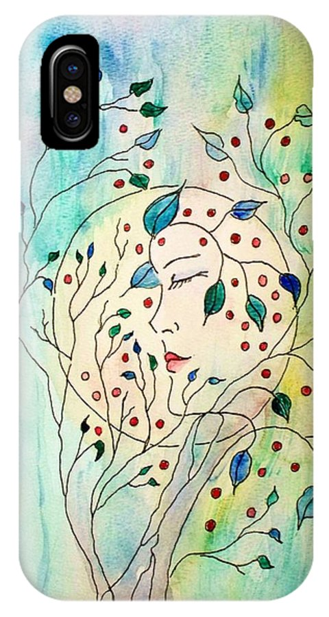 Watercolor Painting IPhone X Case featuring the painting Spirit Of The Forest by Robin Monroe