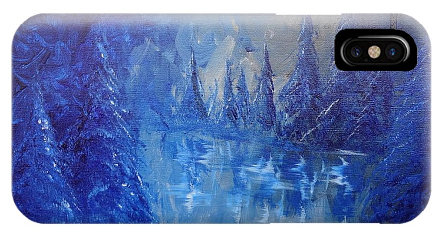 Spirit Pond IPhone X Case featuring the painting Spirit Pond by Jacqueline Athmann