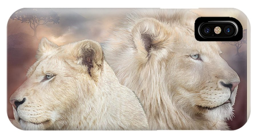 Lion IPhone X Case featuring the mixed media Spirits Of Light by Carol Cavalaris