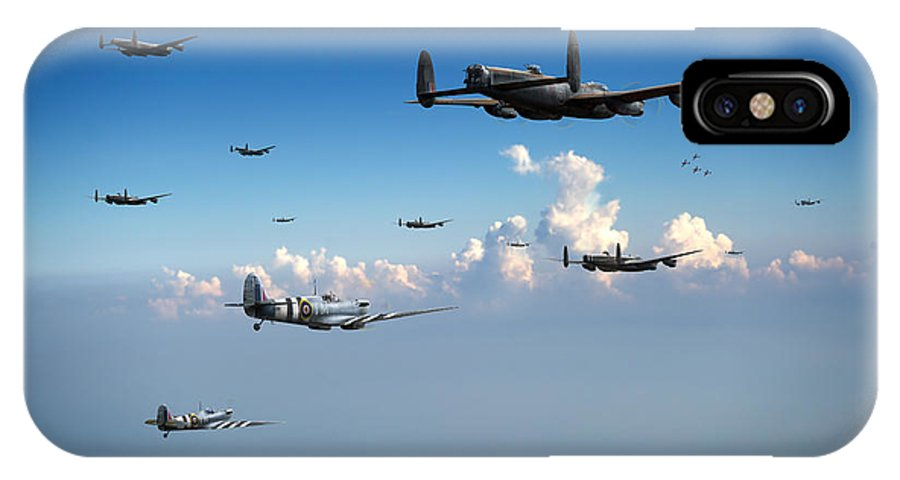 Spitfires IPhone X Case featuring the photograph Spitfires Escorting Lancasters by Gary Eason