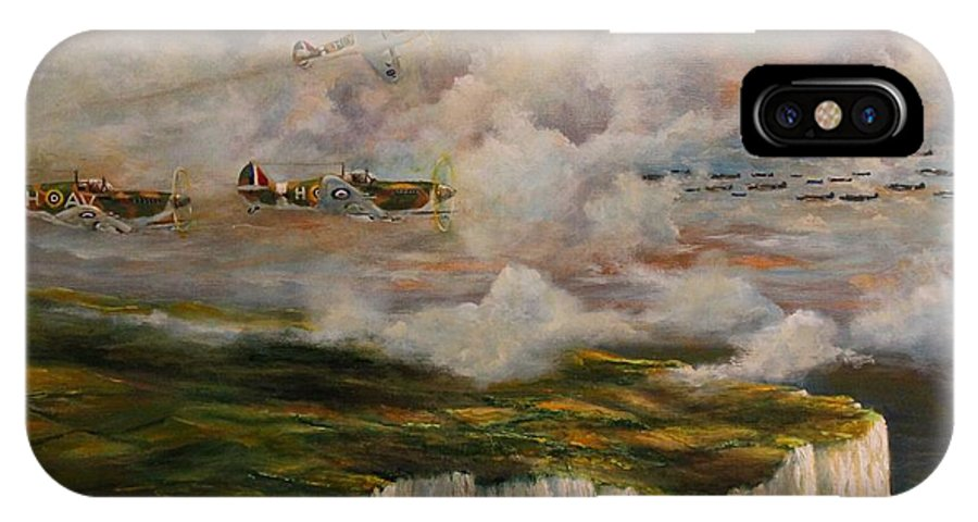 Battle Of Britain IPhone X Case featuring the painting Spitfire's Over Dover by Robert Wright
