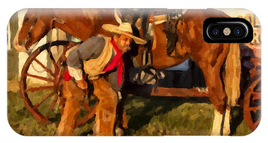 Cowboy IPhone X Case featuring the digital art Spokes by Jack Milchanowski