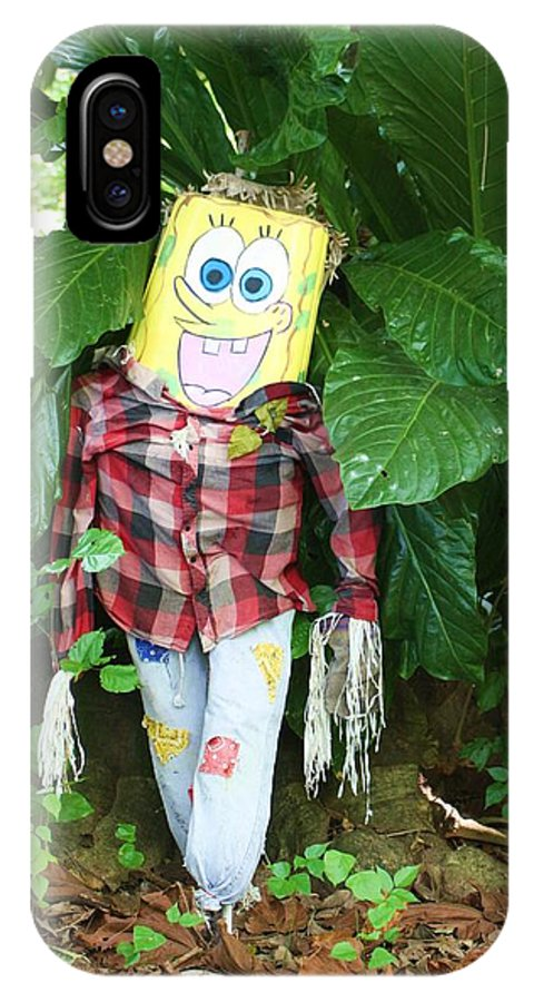 Sponge Bob IPhone X Case featuring the photograph Sponge Bob Scarecrow by Chuck Hicks
