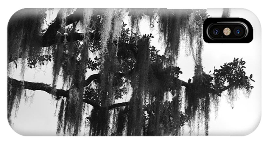 Black And White IPhone X Case featuring the photograph Spooky Trees by Cyndi Lenz