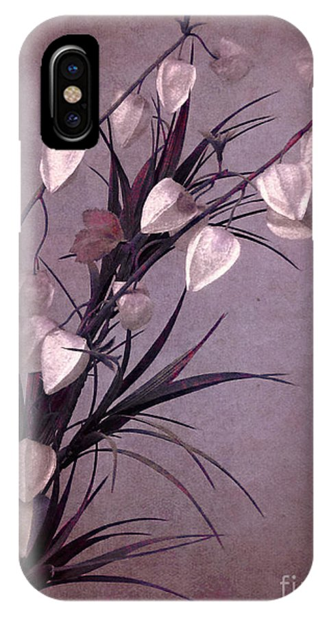 Pink; Fuchsia; Purple; Bright; Flowers; Nature; Close Up; Fragile; Beautiful; Delicate; Fragrant; Pretty; Tranquil; Beauty; Color; Still Life; Silk; Fake; Nature; Stems; Sprig; Floral; Flora; Chinese Lantern; Plant IPhone X Case featuring the photograph Sprigs by Margie Hurwich