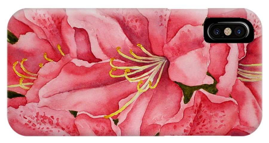 Watercolor IPhone X Case featuring the painting Spring Azalea by Darla Brock