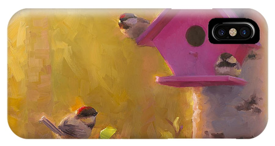 Chickadee IPhone X Case featuring the painting Spring Chickadees 1 - Birdhouse And Birch Forest by Karen Whitworth