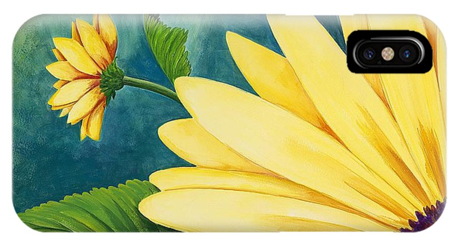 Daisy IPhone X Case featuring the painting Spring Daisy by Carol Sabo