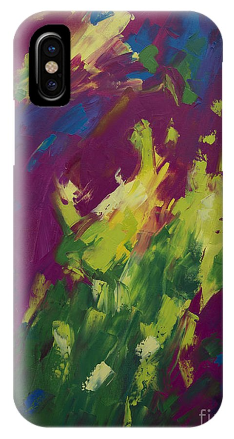 Abstract IPhone X Case featuring the painting Spring Emerges by Kristin Whitney