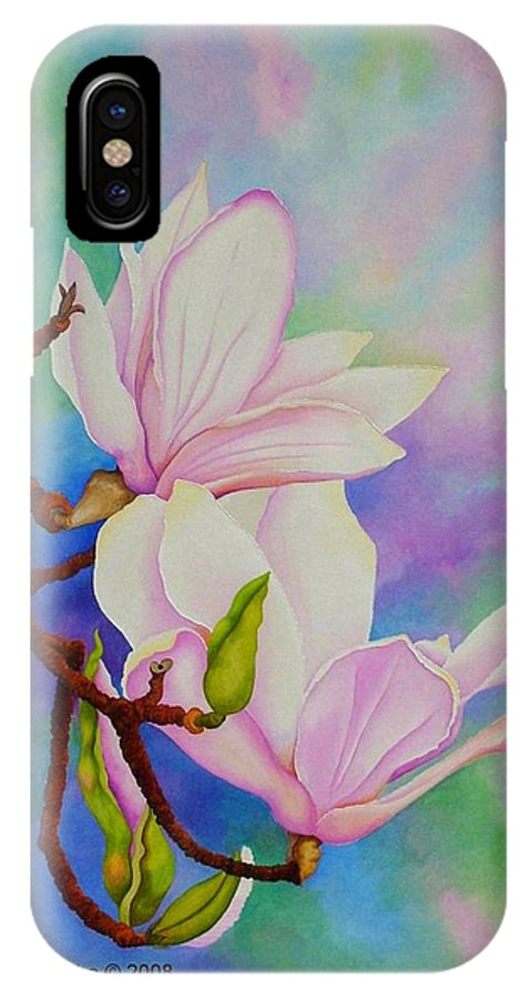 Pastels IPhone X Case featuring the painting Spring Magnolia by Carol Sabo