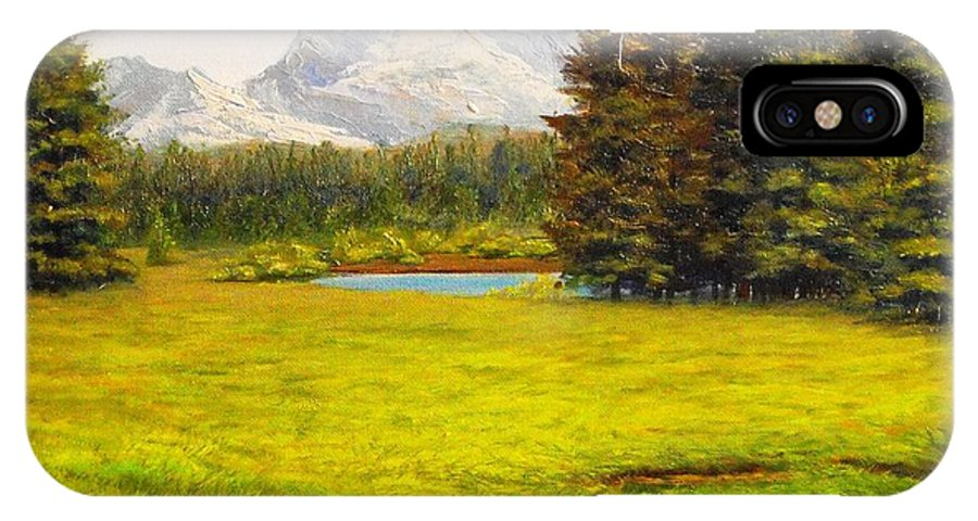 Yosemite IPhone X Case featuring the painting Spring Meadow by Chris Skinner