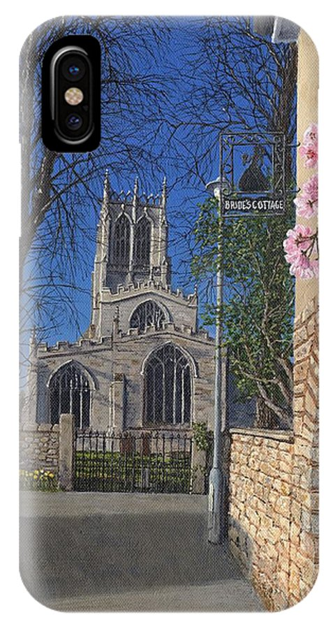 Landscape IPhone X Case featuring the painting Spring Morning Brides Cottage Tickhill Yorkshire by Richard Harpum