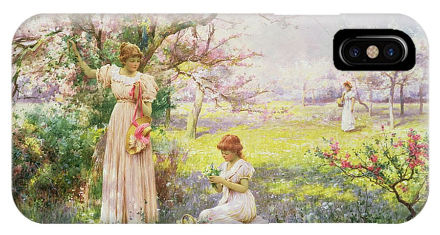 Spring: Picking Flowers IPhone X Case featuring the painting Spring  Picking Flowers by Alfred Augustus I Glendenning